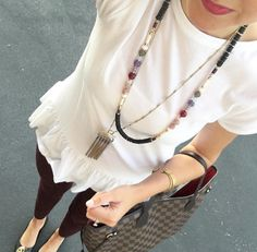 A lesson in making a basic outfit a chic one with our Genevieve Tassel Necklace…