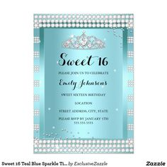 Sweet 16 Teal Blue Sparkle Tiara Birthday Party 5x7 Paper Invitation Card