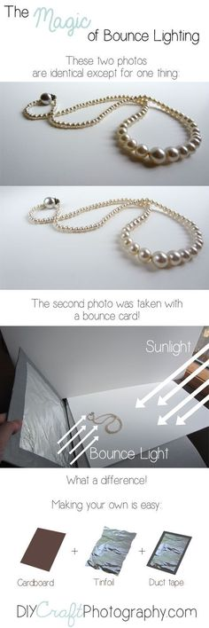 Bounce lighting is a simple (free!) trick that brightens shadows and makes your products look *great* in photos!