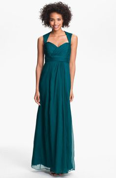 Amsale Blue Crinkled Silk Chiffon Gown