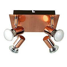 Modern Square Copper Effect 4 Way Adjustable GU10 Ceiling Spotlight: Amazon.co.uk: Lighting