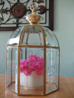 Recycled Lighting Fixture transformed into a Cloche and for outside garden too.