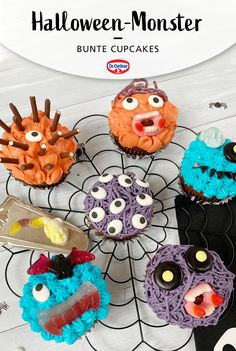 Monster Cupcakes, Monster Muffins, Cute Teen Costumes, Costumes For Teens, Mini Marshmallows, Halloween Cupcakes, Cooking Recipes, Sugar, Desserts