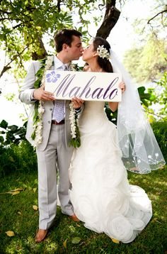 Mahalo Hawaiian Wedding Sign Seen in The Knot Magazine for your Thank You Cards, Photo Props, Beach Wedding Sign. 1-sided, 8 X 24 in on Etsy, $51.95