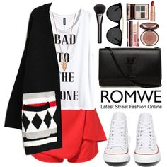 Romwe by oshint on Polyvore featuring moda, H&M, Converse, Yves Saint Laurent, Pamela Love, Smoke & Mirrors, Gucci, Charlotte Tilbury, cool and romwe