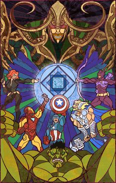 Avengers by *breathing2004 This is an awesome piece... Would love to have something like this on stained glass entry doors... TO MY GEEK CAVE!