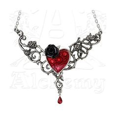 Blood Rose Heart Necklace by Alchemy Gothic ❤ liked on Polyvore featuring jewelry, necklaces, goth jewelry, heart necklace, gothic jewellery, rose jewelry y rose necklace