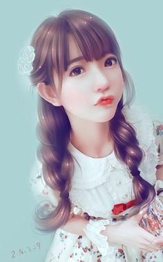 Girls wearing their hair in plaits are really cutest. Girl Pictures, Girl Photos, Lovely Girl Image, Digital Art Girl, Painting Of Girl, Korean Art, Human Art, Anime Art Girl, Illustration Girl