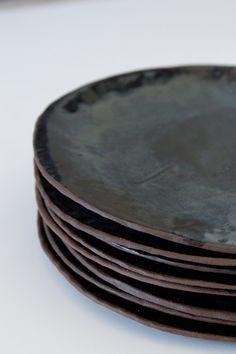 Black Glazed Brown Stoneware Plates by FiftyOneandaHalf #simple #elegant #homedecor .