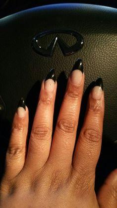 Acrylic Stiletto black and glitter nails