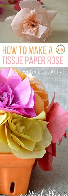 Make gorgeous roses out of tissue paper with this easy to follow tutorial!