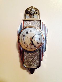 Amazing Manning Bowman chrome Art Deco wall clock