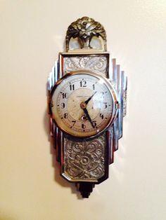 Amazing Manning Bowman chrome Art Deco wall clock