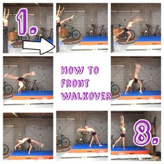 How to do a front walkover How To Do Gymnastics, Gymnastics For Beginners, Gymnastics Moves, Gymnastics Tricks, Gymnastics Training, Dance Flexibility Stretches, Gymnastics Flexibility, Flexibility Workout, Cheerleading Tryouts