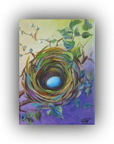 egg nest painting bird nest painting acrylic painting nest