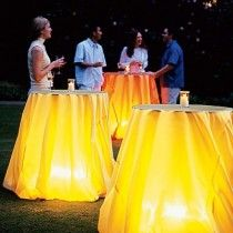wedding photo -  Wedding Tables camping light under table