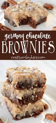 Fudgy German Chocolate Brownies - we like these brownies even better than German Chocolate Cake! Köstliche Desserts, Chocolate Desserts, Delicious Desserts, Dessert Recipes, Bar Recipes, Recipies, Food Deserts, Plated Desserts, Brownie Recipes