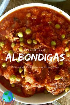 Albondigas, Spaanse gehaktballetjes, heerlijk als tapas - Indenvreemde.nl Snack Recipes, Cooking Recipes, Healthy Recipes, Snacks, Slow Cooker Bbq, Photo Mug, How To Eat Better, Meat Lovers, Easy Cooking