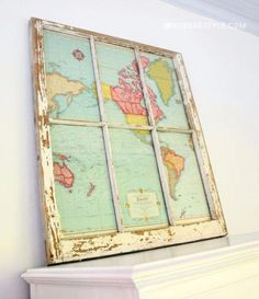 DIY vintage Window map - If you have an old map and some type of older window or mirror, you can instantly create this cool map wall hanging decoration for your travel theme classroom! Bauernhaus Dekor DIY Map Project: Window to the World Old Window Projects, Map Projects, Old Window Ideas, House Projects, Diy Vintage, Vintage Home Decor, Vintage Maps, Vintage Window Decor, Vintage Travel Decor