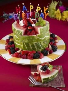 Such a great idea for a baby/toddler cake!  Who doesn't love watermelon??