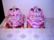 Dievčenské poschodové | plienková,torta, torty,kočík,bocian,uteráková torta, svadobné torty,