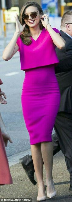 I love the colour, and her fashion style