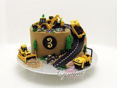 "8"" buttercream cake with fondant details. (the little trees were buttercream)"