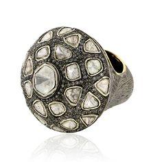 4.68ct Pave Diamond 14 k Gold Designer Handmade Ring Jewelry 925 Sterling Silver