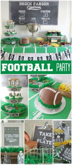A football boy birthday party with cupcakes, a football cake and a cool dessert table with goal posts! Football First Birthday, Baby Boy First Birthday, Sports Birthday, First Birthday Parties, Birthday Party Themes, First Birthdays, Cake Birthday, Birthday Boys, Sports Party