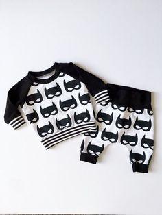 Newborn Baby Boy Batman Shirt and Pants Baby Superhero by HipMingo