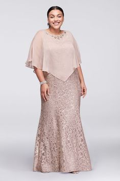 Long Lace Plus Size Mother of Bride/Groom Dress with Beaded Capelet - Buff (Pink), 22W