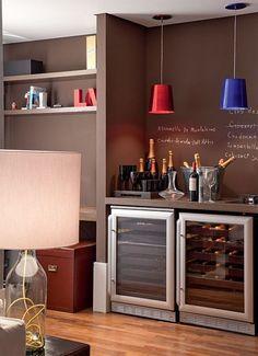Home Bar - Bar em casa Mini Bars, Canto Bar, Bar Sala, Apartment Bar, Wine House, Dinner Room, Interior Decorating, Interior Design, Bars For Home