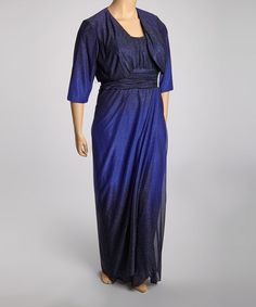 Take a look at this Royal & Black Ombre Glitter Ruched Maxi Jacket Dress - Plus by R&M Richards on #zulily today!