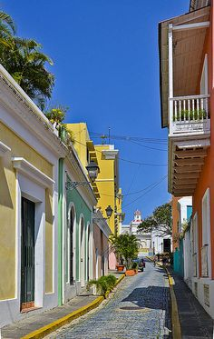 Old San Juan, Puerto Rico. Very romantic memories of puerto Rico Places Around The World, Oh The Places You'll Go, Great Places, Beautiful Places, Around The Worlds, Beautiful Streets, Amazing Places, Vacation Places, Dream Vacations
