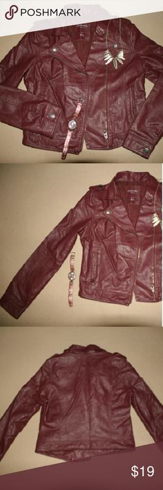 Faux Leather Burgundy Jacket Shell: 55% Polyester / 45% Rayon / Lining: 100% Polyester Aeropostale Jackets & Coats