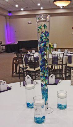 Purple blue orchids centerpiece | Blue orchid wedding ...