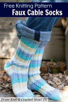 Free Knitting Pattern Download -- This Faux Cable Socks pattern, designed by Lisa Carnahan, is featured in episode 307 of Knit and Crochet Now! TV. Learn more here: http://www.knitandcrochetnow.com