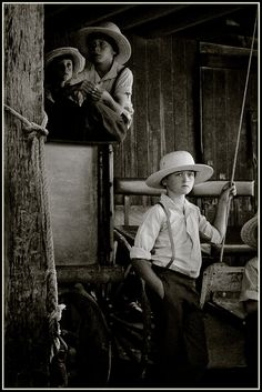 Amish boys at sale, Sturgeon, Missouri