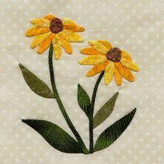 25 different wild flower quilt. blocks - Black Eyed Susan