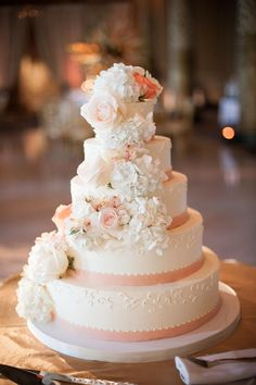 Classic wedding cake, peach, white buttercream, hydrangeas & roses // gerber + scarpelli photography