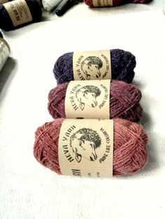 Natural Hand Dyed 100% WOOL YARN TRIO, Lot of 3x50 g, Pink-Purple Shadow. Great gift for knitting lovers. Neva Yarn Made in Russia A6/14/20 from NevaYarn on Etsy Studio