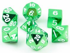 Tell your story with metal RPG dice. These metal dice are made with heavy, solid zinc and plated with shiny, polished nickel. The mirrored green finish looks absolutely amazing. All numbers are oversi