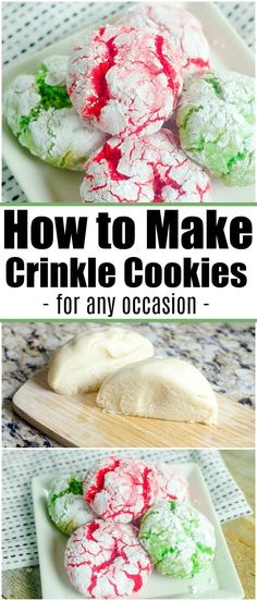 Cake Mix Crinkle Cookies Have Never Been Easier to Make! Here's an easy crinkle cookies recipe you can make for any occasion. With bright colors they're great Christmas cookies that come out moist every time. Galletas Cookies, Cake Mix Cookies, Cookies Et Biscuits, Best Cookie Recipes, Sweet Recipes, Holiday Recipes, Christmas Recipes, Cake Mix Cookie Recipes, Kid Recipes