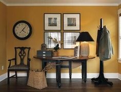 benjamin moore bryant gold is a lovely deep yellow that is warm and a good paint colour for a north facing room