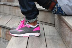 Grey and Hot Pink Nike AirMax