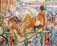 """Moses Levy (Tunisi 1885- Viareggio 1968), """"Spiaggia a Viareggio"""""""