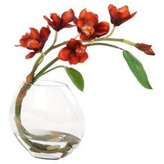 Red silk orchid spray in a glass disk vase.  Product: Faux floral arrangementConstruction Material: Silk and glassColor: RustFeatures: Includes faux orchidsDimensions: 18 H x 21 W x 6 D