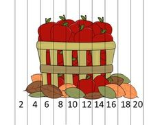 Here's an apple themed number order puzzle for skip counting by 2 to 20.