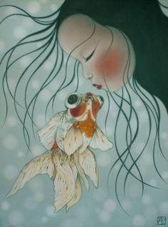 Art And Illustration, Koi, Album Jeunesse, Fish Art, Australian Artists, Whimsical Art, Goldfish, Asian Art, Love Art