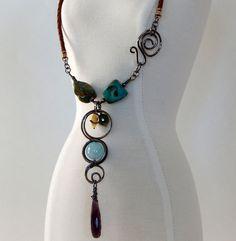 Turquoise Boho Necklace - Sterling Silver - Peridot - Aquamarine - Turquoise - Dream Catcher - Handmade - Artisan Jewelry - Mothers Day Gift by BeadIndulgences on Etsy